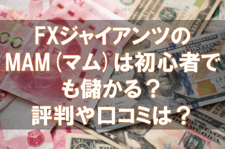 海外FX,口コミ,評判,FXジャイアンツ,MAM,マム